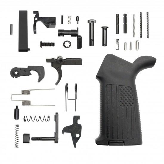 AR-15 Lower Receiver Parts Kit W/ A2 'USA FLAG' Pistol Grip
