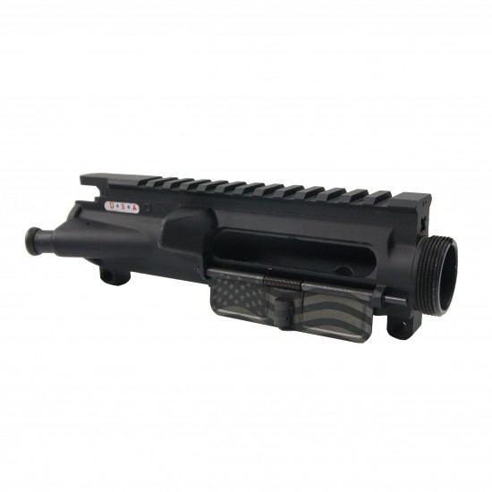 AR-15 Mil-Spec Upper Receiver - Dry Film Lube W/ Forward Assist and American Flag Laser Etched Dust Cover [ASSEMBLED]