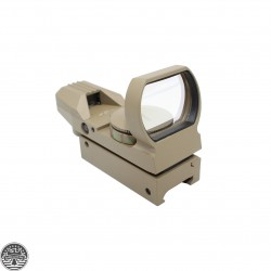 AR-15 Tactical Holographic Reflex Red FDE Adjustable Dot Sight W/ Rail Mount - Flat Dark Earth