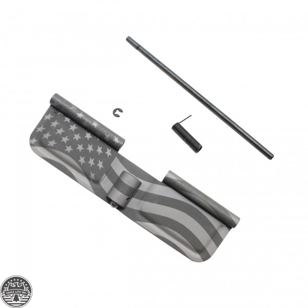 AR-15 Ejection Port Cover | Dust Cover Assembly- American Flag Laser Etched