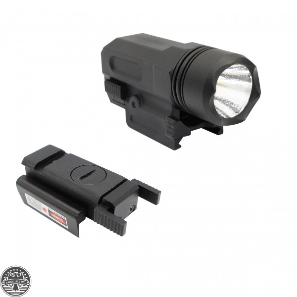 Tactical Red Laser + 150 Lumens Led Lightweight FLashlight Combo