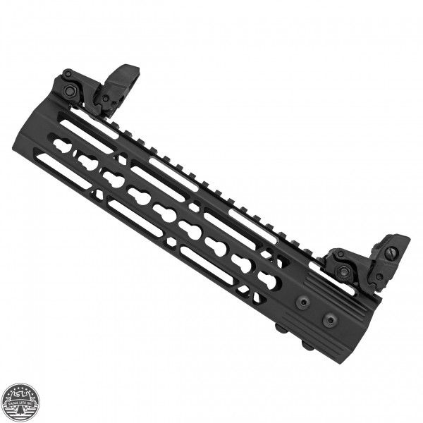 "AR-15 10"" Ultra Slim Keymod Handguard w/ FREE Flip Up Sights"