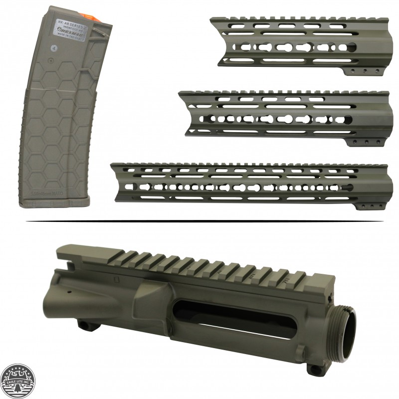 Cerakote OD-Green | AR-15 Mil-Spec Upper Receiver and Handguard W/ Hexmag  |Made In U S A