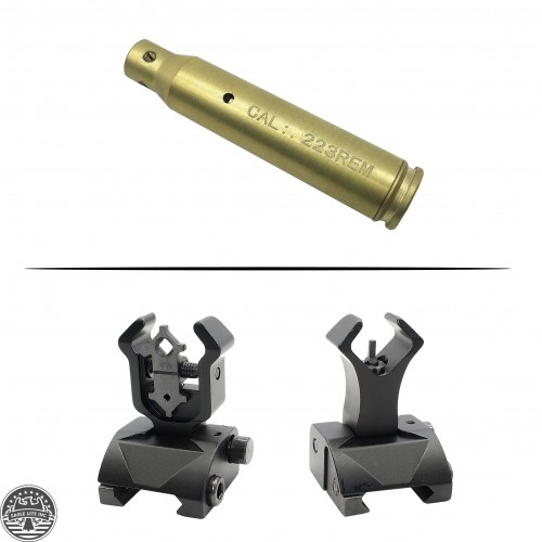 AR-15 Cartridge Laser Bore Sight and AR-15 Diamond Aperture Iron Sight