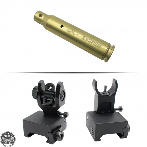 AR-15 Cartridge Laser Bore Sight And AR-15 A2 FRONT and REAR FLIP UP SIGHT FOR Low Gas Block