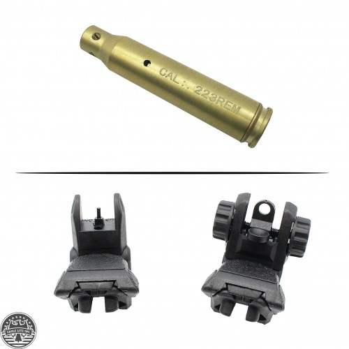 AR-15 Cartridge Laser Bore Sight and Front and Rear Sight Polymer Flip-Up Sights