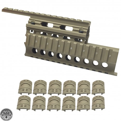 AK47 QUAD RAIL HANDGUARD- TAN With 12 Pieces Universal 20mm Weaver Picatinny Rubber Rail Covers Hand Guard TAN