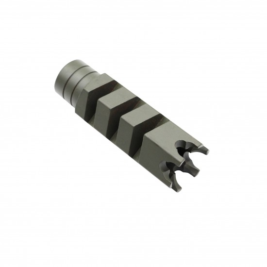 Cerakote OD-Green | AR-15 .223 5.56 Nato Steel Shark Muzzle Brake 1/2x28 Pitch Thread + Free Crush Washer