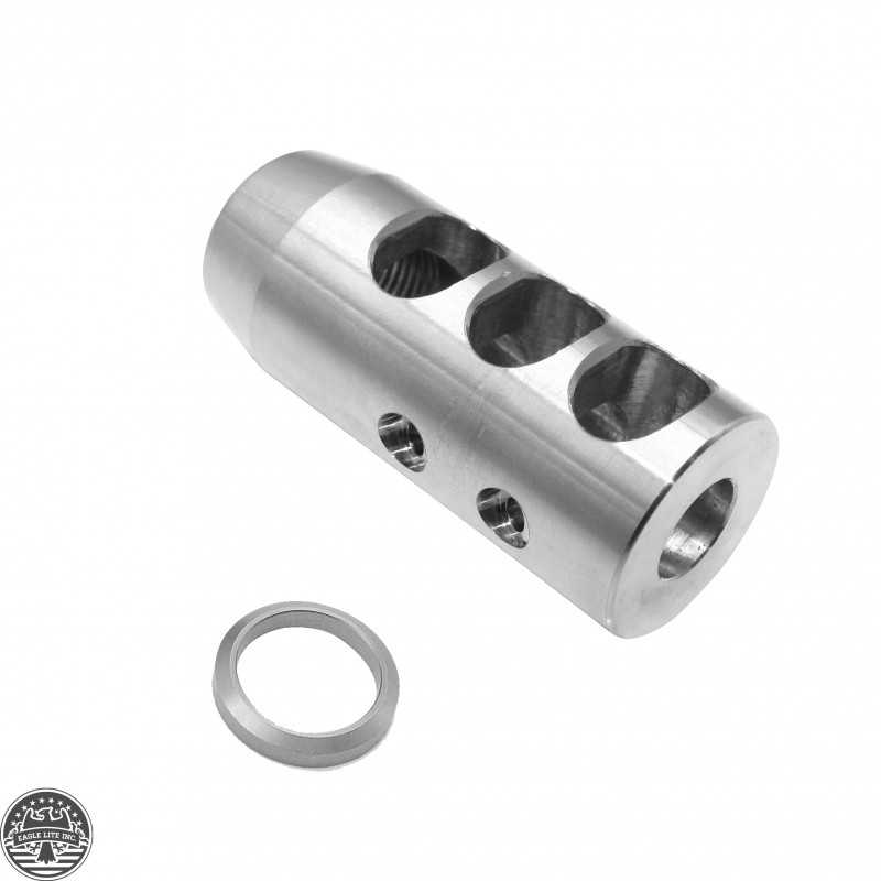ar 10 308 rifle stainless steel compact competition muzzle brake 5 8x24