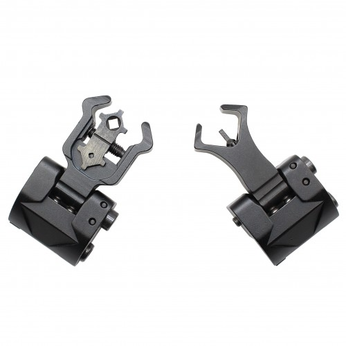 Premium Flip up Front Rear Iron Sight Set Dual Diamond Shaped Aperture BUIS Black