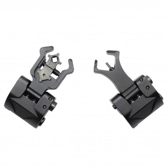 Premium Flip up Front Rear Iron Sight Set Dual Diamond Shaped Aperture Buis Black