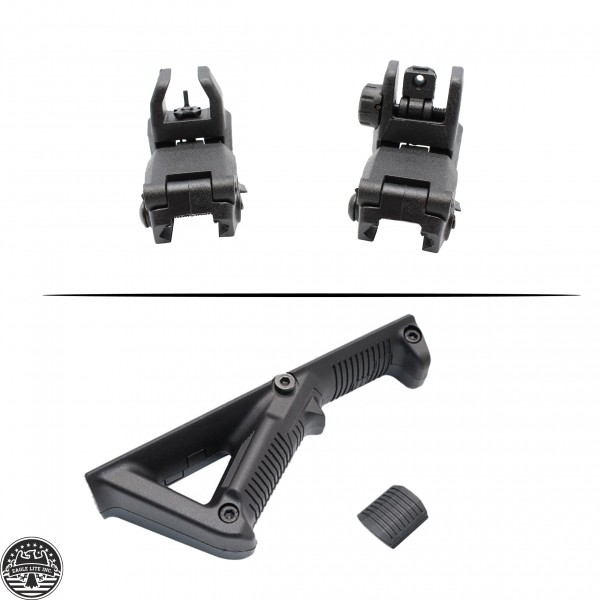 AR Three-Piece Polymer Angled Foregrip And Back-Up Front and Rear Sights Combo Set