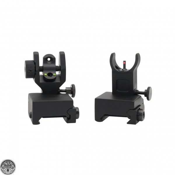 AR-15 Front And Rear Flip Up Sights -Green And Red Dots