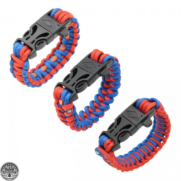Paracord With Fire Starter And Whistle|Red and Blue