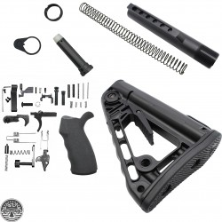 Mil-Spec Buffer Tube Assembly w/ Rogers Super-Stoc Deluxe Collapsible Stock w/AR-15 Custom Lower Receiver Parts Kit (Ambidextrous)-LPK-EO