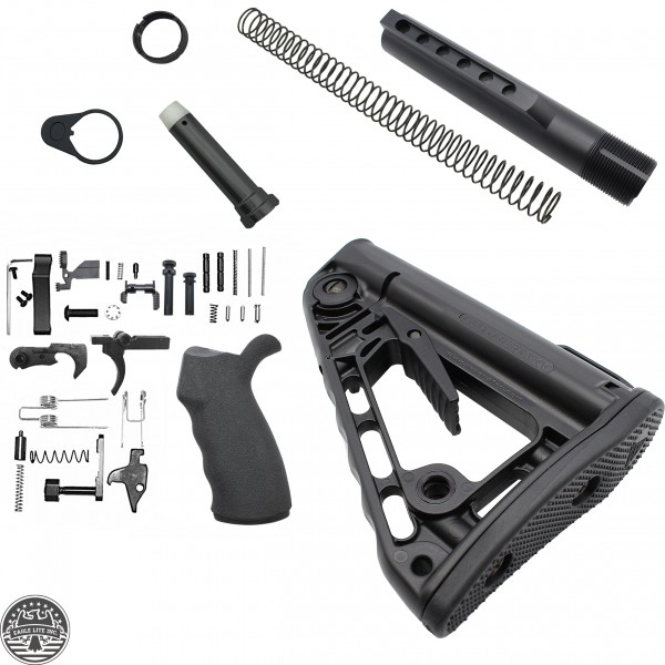 Mil-Spec Buffer Tube Assembly W/ Rogers Super-Stoc Deluxe Collapsible Stock W/AR-15 Custom Lower Receiver Parts Kit-LPK-EO
