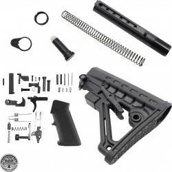 AR-10 Lower Build Kit with Commercial Spec 6 Position Butt Stock With QD Attachment Sling Swivel