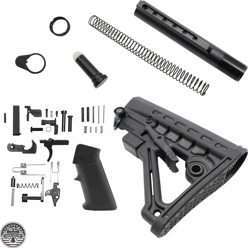 ar 10 lower build kit with commercial spec 6 position butt stock