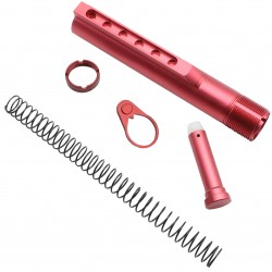AR-15 M4 Six Position Buffer Tube Kit -Mil-Spec - Red